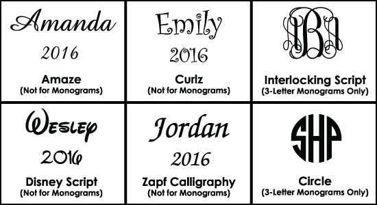 Font Styles for Glass Ornaments