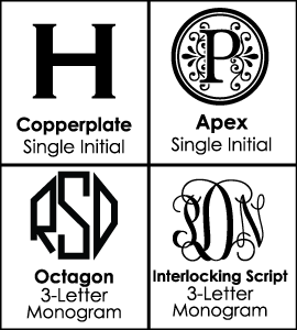 Font Choices for Monogrammed Decanter Sets