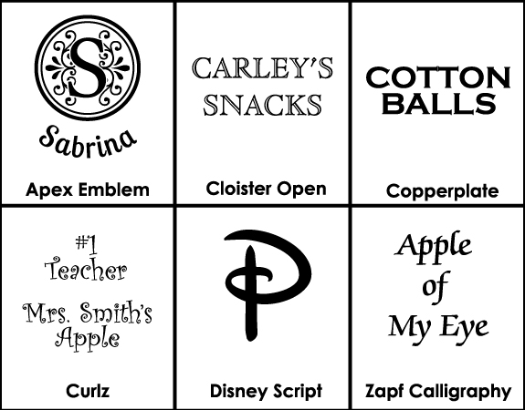 Font Selection for The Crystal Shoppe's personalized glass jar collection