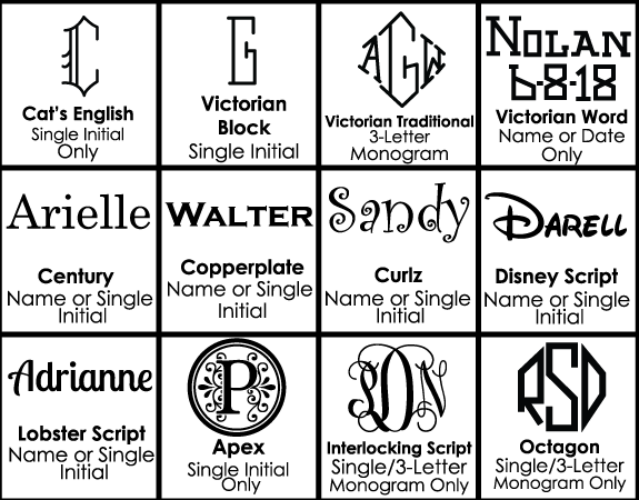 Font Choices for Monogrammed Mugs
