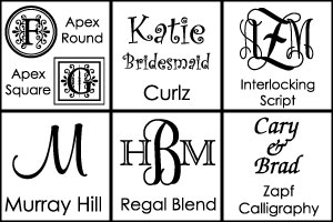 Font Choices for Personalized Vases